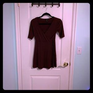 Burgundy Mock Wrap Knit Skater Dress